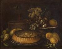 pere, una torta e limoni, un cesto con una bottiglia ed una fruttiera con uva by tommaso realfonso