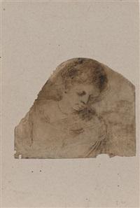 femme en buste regardant en bas sur sa gauche by guercino