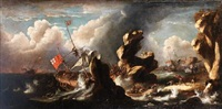 a rocky coastline with a ship running aground in a storm by jan peeters