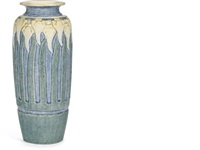 crocus vase (decorated by leona nicholson) by newcomb college pottery