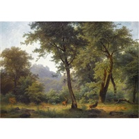 waldlandschaft mit reh-forest landscape with deer by josef holzer