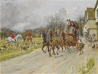 a coach and four and a hunting party outside the bell inn, near knaresborough by gilbert scott wright