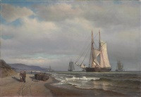 shipping in a calm in sandy hook bay by archibald cary smith