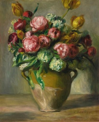 vase de pivoines by pierre auguste renoir