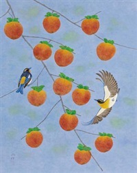 枝头 (bird and fruit) by yao xudeng