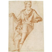 design for a lunette: king david (+ sketch of a figure; verso) by agostino ciampelli