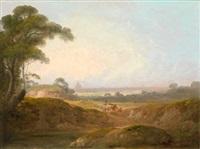hirten in der römischen campagna, im hintergrund die kuppel des petersdomes (+ hirten am ufer eines sees am rande der albanerberge; pair) by john rathbone