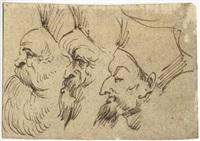 schizzi caricaturali di tre teste by agostino carracci