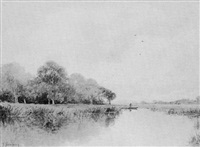 boater in a marsh landscape by g. thompson