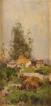 bords de rivière (pair) by eugène galien-laloue
