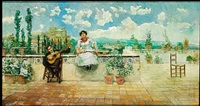 a couple making music on a terrace, spain by juan aldaz y sancho