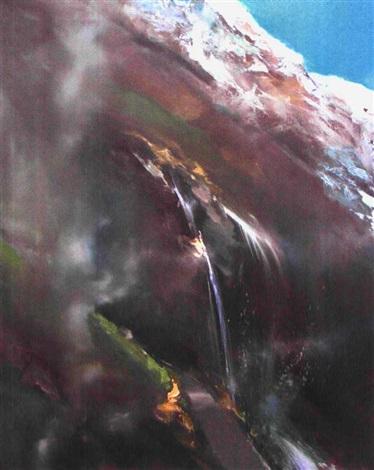 brouillard et cascade by jean arcelin