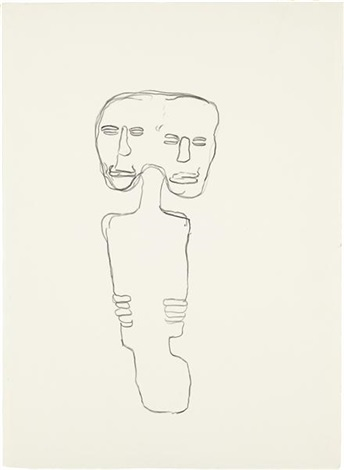 untitled two heads by jean michel basquiat