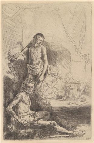 zwei männliche akte by rembrandt van rijn