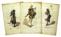 maquettes pour la revue de 1879 (7 works) by samuel-marie cledat de lavignerie