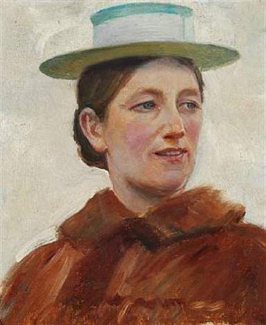 the painters wife anna with a straw hat by michael peter ancher