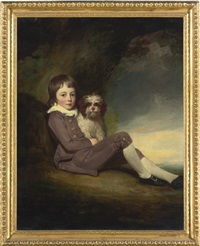 portrait of george, lord brooke, son of george greville, 2nd earl of warwick, with a dog by george romney