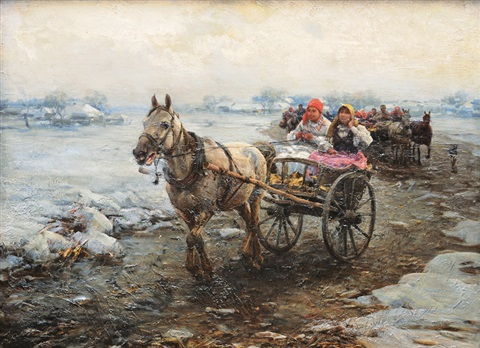 horse cart ride by alfred von wierusz kowalski