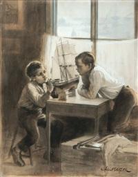 tackling a ship by albert edelfelt