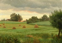 harvest scenery at sunset by ludvig kabell