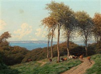 summer day with a shepherd with his cows, in the background view to the sea by carl frederik bartsch