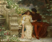 lovers in a garden by charles edward perugini