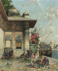 market day, a capriccio of the old city shores, constantinople by alberto pasini