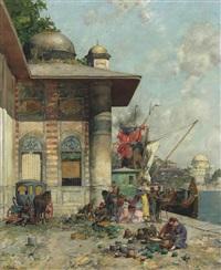 market day, a capriccio of the old city shores, constantinople by alberto pasini