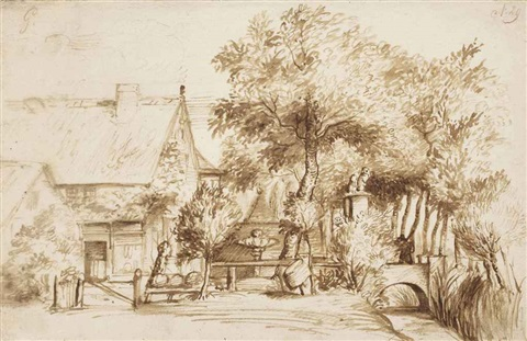 a country house with a grand gateway beside a stream by jan lievens