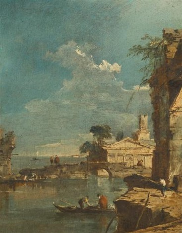 a capriccio with figures at the edge of a lagoon by francesco guardi