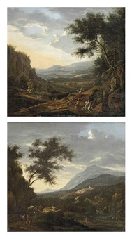 a mountainous landscape with horseman on a track at sunset (+ a mountainous river landscape with horsemen on a rocky path at dawn; pair) by willem von bemmel