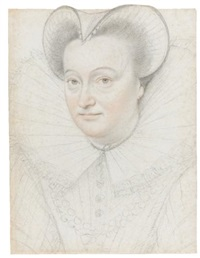 portrait of a woman with a high ruff and cap by françois quesnel