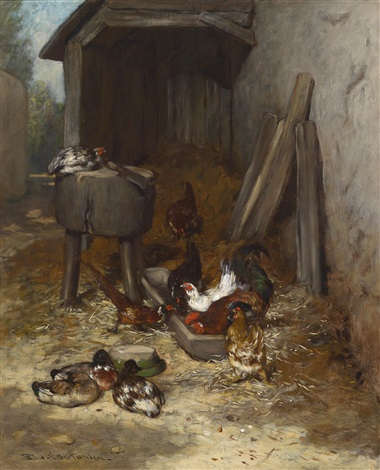 hühner im stall by philibert leon couturier