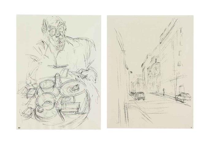 sammelnummer von 10 lithographien aus der serie paris sans fin set of 10 by alberto giacometti