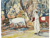 woman in a white dress herding cows by selden connor gile