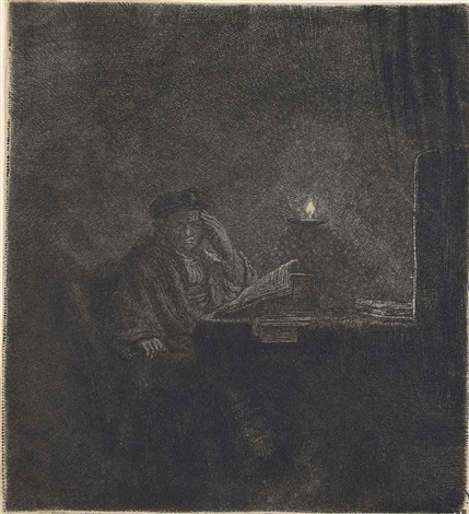 a student at a table by candlelight by rembrandt van rijn