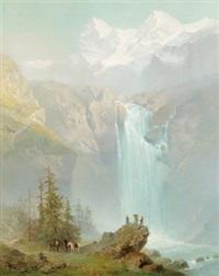 ausflügler beim schmadribachfall im berner oberland by j. godenne