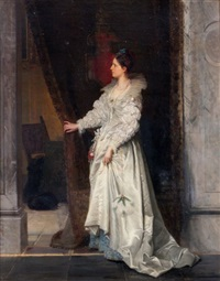 interior scene with lady by francesco valaperta