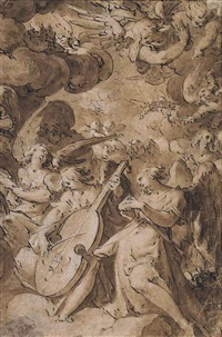 angels in glory, with one angel playing a viola da gamba by jan harmensz muller