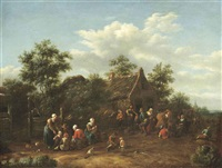 peasants dancing outside an inn by barend gael