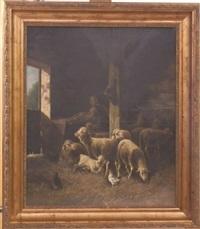 moutons à l'étable by jules-g. bahieu