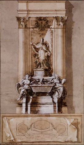 design for the tomb of pope clement xi albani with allegories of strengh and religion flanking a sarcophagus by pietro bracci