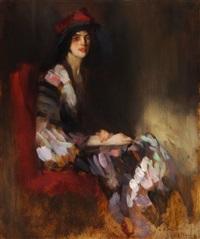 bildnis einer eleganten dame mit buntem schal by ambrogio antonio alciati