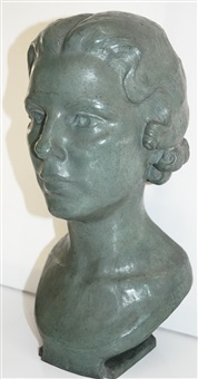 head of a woman with curls by eleanor mellon