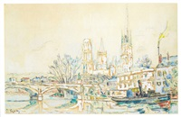 rouen, bords de seine by paul signac