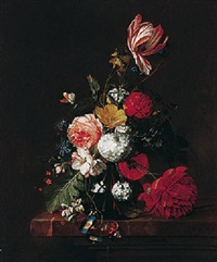 a still life of tulips, roses, a peony, and honeysuckle in a glass vase with butterflies, all on a marble ledge by david cornelisz heem iii