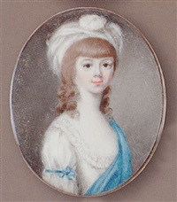 a young girl, with white dress, blue sleeve-ribbon and shawl, a feathered turban in her loose brown hair by patrick john mcmoreland
