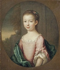 portrait of a girl, half-length, in a blue dress and pink wrap, a landscape beyond by joseph highmore