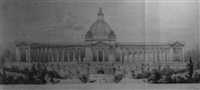 slavin, predni pohled - an architectural view of the palace facade by lodovic tacheci
