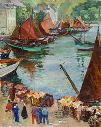 sardine boats, port d'audierne by abel george warshawsky
